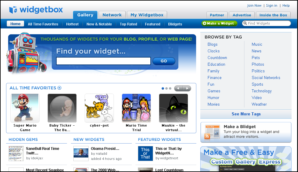 screenshot Widgetbox